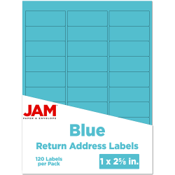 "JAM Paper® Mailing Address Labels, 302725762, 2 5/8"" x 1"", Blue, Pack Of 120"
