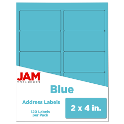"JAM Paper® Rectangular Mailing Address Labels, 302725768, 2"" x 4"", Blue, Pack Of 120"