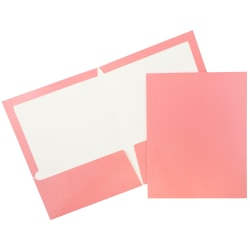 JAM Paper® Glossy 2-Pocket Presentation Folders, Baby Pink, Pack of 6