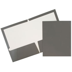 JAM Paper® Glossy 2-Pocket Presentation Folders, Gray, Pack of 6