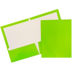JAM Paper® Glossy 2-Pocket Presentation Folders, Lime Green, Pack of 6