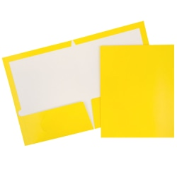 JAM Paper® Glossy 2-Pocket Presentation Folders, Yellow, Pack of 6