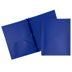 "JAM Paper® Plastic 2-Pocket POP Folders with Metal Prongs Fastener Clasps, 9 1/2"" x 11 1/2"", Deep Blue, Pack Of 6"