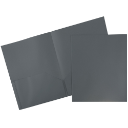 "JAM Paper® Plastic 2-Pocket POP Folders with Metal Prongs Fastener Clasps, 9 1/2"" x 11 1/2"", Gray, Pack Of 6"