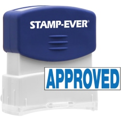 """Stamp-Ever Pre-inked APPROVED Stamp - Message Stamp - """"APPROVED"""" - 0.56"""" Impression Width x 1.69"""" Impression Length - 50000 Impression(s) - Blue - 1 Each"""