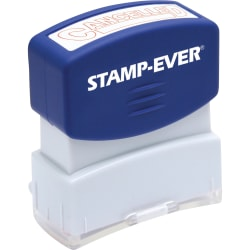 """Stamp-Ever Pre-inked Cancelled Stamp - Message Stamp - """"CANCELLED"""" - 0.56"""" Impression Width x 1.69"""" Impression Length - 50000 Impression(s) - Red - 1 Each"""