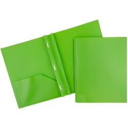 "JAM Paper® Plastic 2-Pocket POP Folders with Metal Prongs Fastener Clasps, 9 1/2"" x 11 1/2"", Lime Green, Pack Of 6"