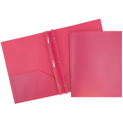 "JAM Paper® Plastic 2-Pocket POP Folders with Metal Prongs Fastener Clasps, 9 1/2"" x 11 1/2"", Fuchsia Pink, Pack Of 6"