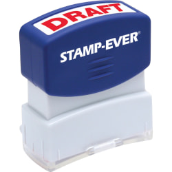 "Stamp-Ever Pre-inked Red DRAFT Stamp - Message Stamp - ""DRAFT"" - 0.56"" Impression Width x 1.69"" Impression Length - 50000 Impression(s) - Red - 1 Each"