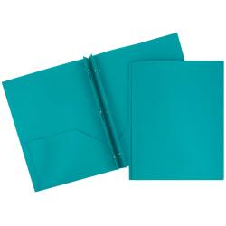 "JAM Paper® Plastic 2-Pocket POP Folders with Metal Prongs Fastener Clasps, 9 1/2"" x 11 1/2"", Teal, Pack Of 6"
