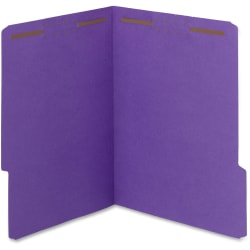 Smead® WaterShed® CutLess® 1/3-Cut Fastener Folders With 2 Fasteners, Letter Size, Purple, Box Of 50 Folders