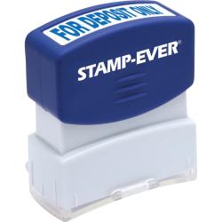 "Stamp-Ever Pre-inked For Deposit Only Stamp - Message Stamp - ""FOR DEPOSIT ONLY"" - 0.56"" Impression Width x 1.69"" Impression Length - 50000 Impression(s) - Blue - 1 Each"