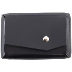 "JAM Paper® Leather Business Card Case, Angular Flap, 2 1/2"" x 4"" x 3/4"", Black"