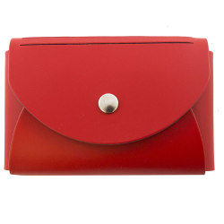 """JAM Paper® Leather Business Card Case, Round Flap, 2 1/2"""" x 4"""" x 3/4"""", Red"""