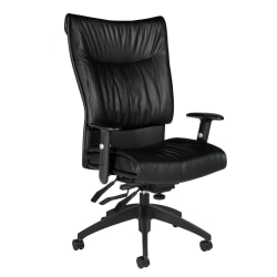 Global® Softcurve™ Bonded Leather High-Back Multi-Tilter Executive Chair, Black