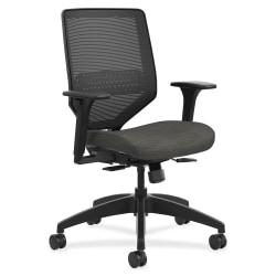 HON® Solve Fabric Mid-Back Task Chair, Ilira-Stretch Mesh Back, Black