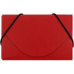 """JAM Paper® Plastic Business Card Case With Round Flap, 3 1/2"""" x 2 1/4"""" x 1/4"""", Red"""