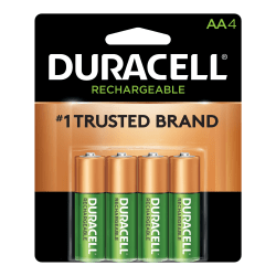 Duracell® NiMH AA Rechargeable Batteries, Pack Of 4 Batteries
