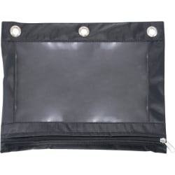 Advantus Binder Pencil Pouch - 3 x Holes - Ring Binder - Rectangular - Black, Clear - Vinyl - 1 Each