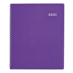 """Brownline® Duraflex Weekly Planner, 11"""" x 8 1/2"""", Purple, 50% Recycled, FSC® Certified, January to December 2021"""