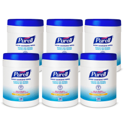 Purell® Hand Sanitizing Wipes, Fresh Citrus Scent, 270 Wipes Per Canister, Pack Of 6 Canisters
