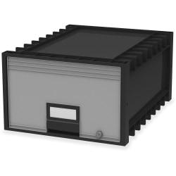"""Storex Archive Storage Box - External Dimensions: 18.3"""" Length x 11.5"""" Width x 24.4"""" Height - Heavy Duty - Stackable - Black, Gray - For Storage - Recycled - 1 Each"""