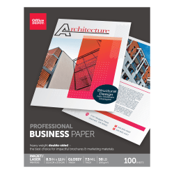 """Office Depot® Brand Professional Business Paper, Glossy, Letter Size (8 1/2"""" x 11""""), 50 Lb, Pack Of 100 Sheets"""