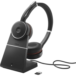 Jabra EVOLVE 75 with Charging Stand MS Stereo - Stereo - Wireless - Bluetooth - 100 ft - 20 Hz - 20 kHz - Over-the-head - Binaural - Circumaural - Noise Canceling