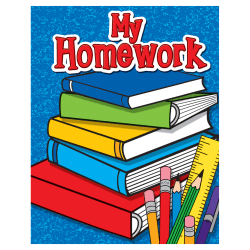 """Teacher Created Resources My Homework Take-Home Pocket Folders, 9 1/2"""" x 12"""", Multicolored, Pack Of 10"""