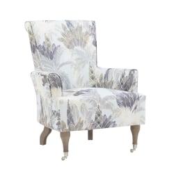 Linon Jasmine Arm Chair, Rustic Gray/Blue Green Leaf
