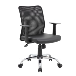Boss Office Products Budget Vinyl Mid-Back Task Chair, With Arms, Black