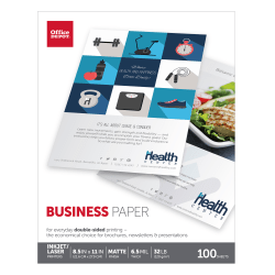 """Office Depot® Double-Sided Presentation Paper, Matte, Letter Size (8 1/2"""" x 11""""), 32 Lb, Ream Of 100 Sheets"""