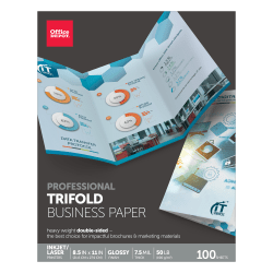 "Office Depot® Double-Sided Presentation Paper, Glossy, Tri-Fold, Letter Size (8 1/2"" x 11""), 50 Lb, Ream Of 100 Sheets"