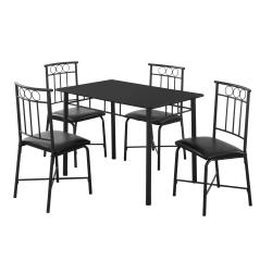 Monarch Specialties Metal 5-Piece Dining Set, Rectangle, Black