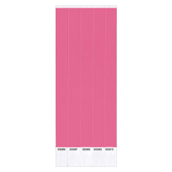 "Amscan Waterproof Paper Wristbands, 3/4"" x 10"", Solid Pink, Pack Of 500 Wristbands"