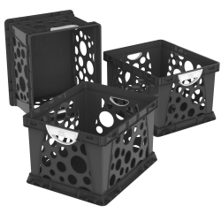Storex® Storage & Filing Crates With Comfort Handles, Medium Size, Black/White, Pack Of 3