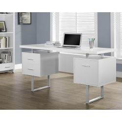 "Monarch Specialties Retro-Style 60""W Computer Desk, White"
