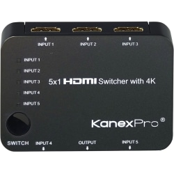 KanexPro 5x1 HDMI Switcher with 4K Support - TV, Blu-ray Disc Player, Xbox, Projector, Home Theater, STB, PlayStation 3, DVD Player, PlayStation 4 Compatible - 5 x HDMI Digital Audio/Video In, 1 x HDMI Digital Audio/Video Out