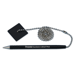 PM™ Company Counter Pen With Ball Chain/Base, Black Ink, Black Base