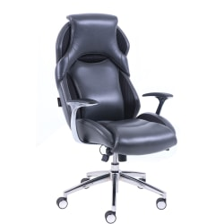 Lorell® Executive Bonded Leather High-Back Chair, Black