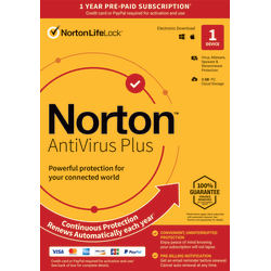 Norton™ AntiVirus™ Plus, 1 Device, 1-Year Subscription, Auto-Renewal, Download