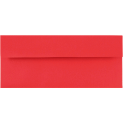 """JAM Paper® Booklet Envelopes With Gummed Closure (Recycled), #10, 4 1/8"""" x 9 1/2"""", 30% Recycled, Red, Pack Of 25"""