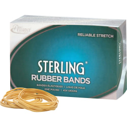"""Alliance Rubber 24165 Sterling Rubber Bands - Size #16 - Approx. 2300 Bands - 7/8"""" x 1/16"""" - Natural Crepe - 1 lb Box"""