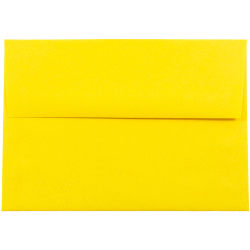 """JAM Paper® Booklet Invitation Envelopes, A7, 5 1/4"""" x 7 1/4"""", 30% Recycled, Yellow, Pack Of 25"""