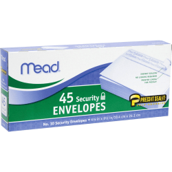 """Mead Press-it Seal-it No. 10 Security Envelopes - Security - #10 - 4 1/8"""" Width x 9 1/2"""" Length - Peel & Seal - 45 / Box - White"""