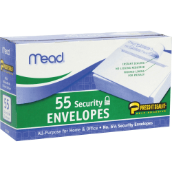 Mead Press-it No. 6 Security Envelopes - Security - #6 3/4 - Peel & Seal - 55 / Box - White