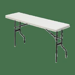 "Iceberg Resin Folding Table, 60""W x 18""D, Platinum/Black"