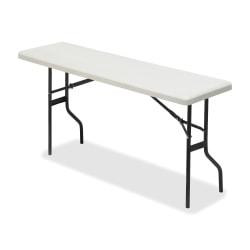 "Iceberg Resin Folding Table, 72""W x 18""D, Platinum/Black"
