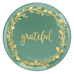 """Amscan Fall Grateful Coupe Platters, 14"""", Green, Pack Of 4 Platters"""
