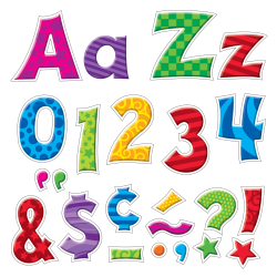 """Trend® Ready Letters® Patchwork Furry Friends® Uppercase And Lowercase Letters, 4"""", Multicolored, Pack Of 225"""
